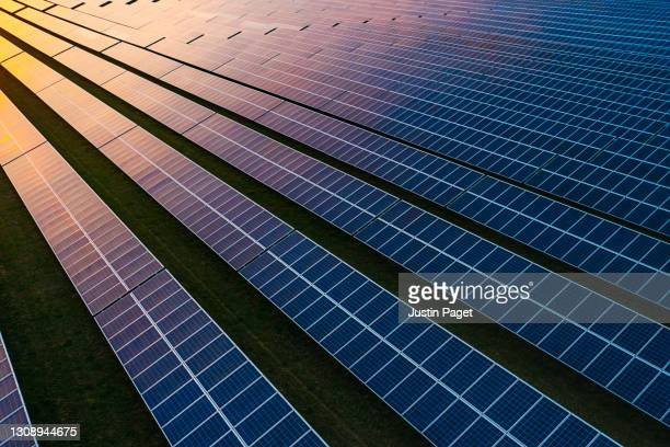solar panels at dusk - science and technology stock pictures, royalty-free photos & images