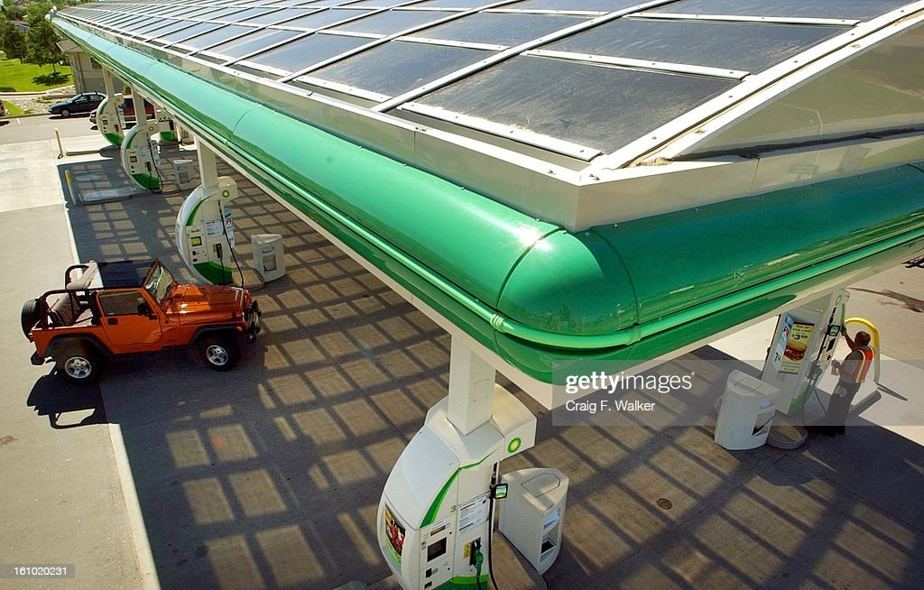 Solar panels atop the canopy at the new BP gas station