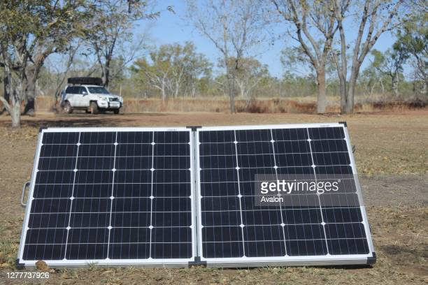 Solar panels charging equipment of a 4WD vehicle.