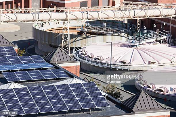 Solar panels in a water treatment plant