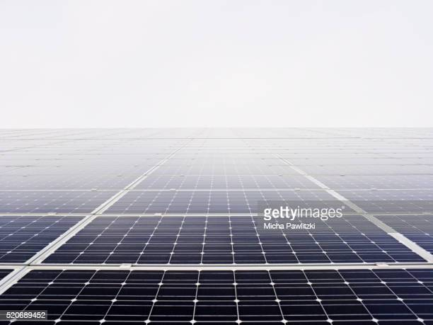 solar panels in mist near hamburg, germany - image stock-fotos und bilder