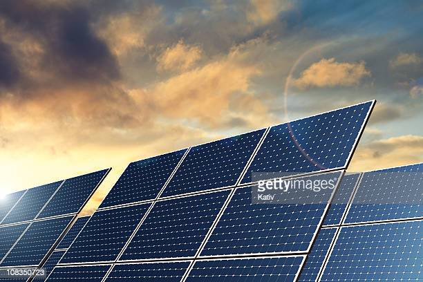 solar panels - natural energy (xxl) - solar powered station stock pictures, royalty-free photos & images