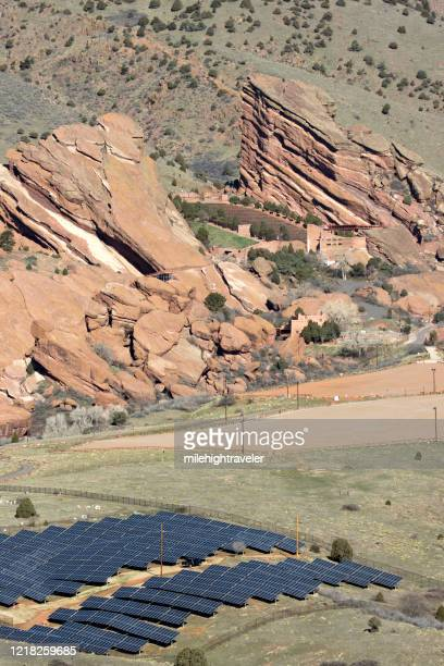 solar panels near red rocks park and amphitheater morrison colorado - milehightraveler stock pictures, royalty-free photos & images