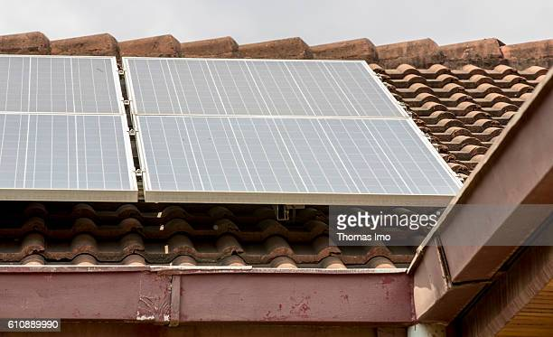 Solar panels on a house roof in Africa on September 05 2016 in Accra Ghana