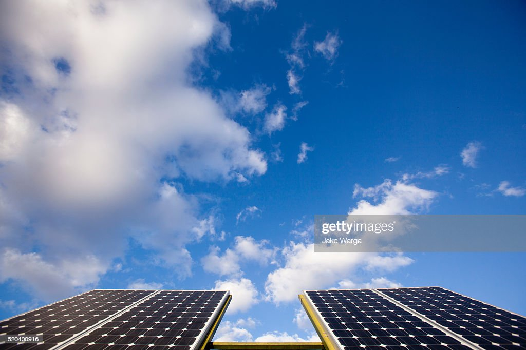 Solar panels on a sunny day : Stock Photo
