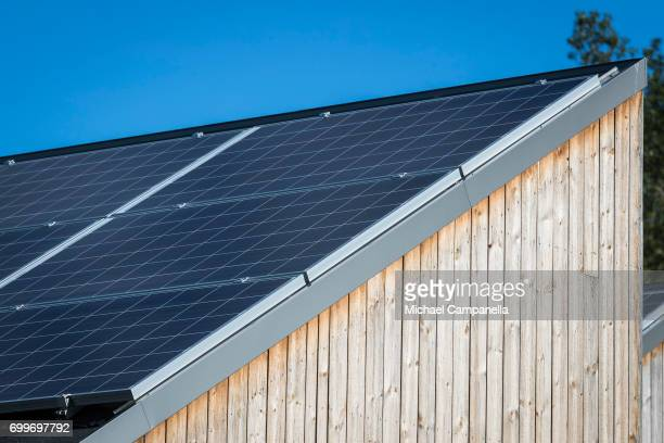 Solar panels on a zeroemissions home built for an exhibition during the 2017 Starmus Festifval on June 22 2017 in Trondheim Norway