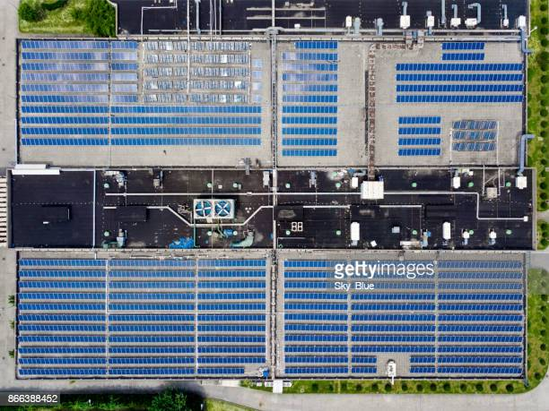 Solar panels on factory rooftop