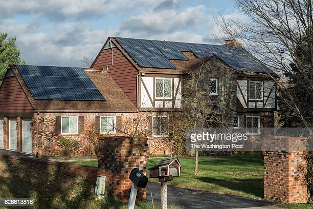 Solar Panels on the roof of a house along Lovat Rd in Beaufort Park on November 20 2016 in Fulton Maryland