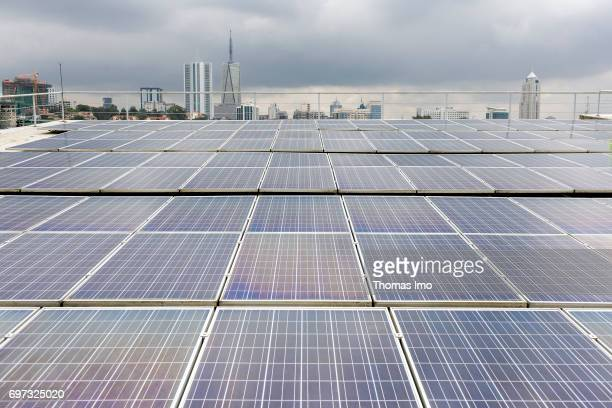 Solar panels on the roof of a training facility for solar technicians and energy auditors at Strathmore University on May 17 2017 in Nairobi Kenya