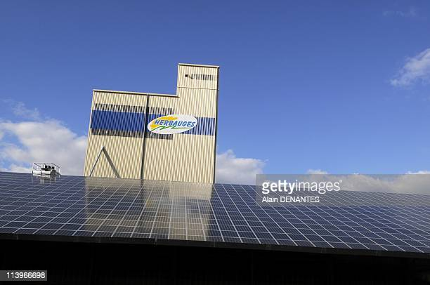 Solar panels on the roofs of an agricultural cooperative In Corcoue Sur Logne, France On September 25, 2010-5300 square meters of photovoltaic panels...