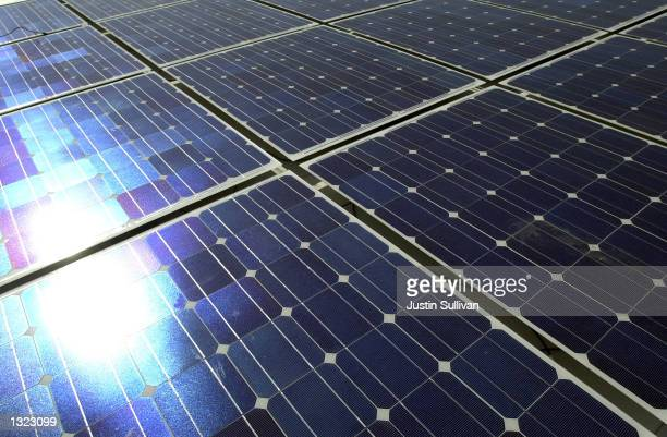 Solar panels soak up the sun''s rays on top of the Alameda County Jail at Santa Rita June 19 2001 in Dublin California The $44 million solar panel...