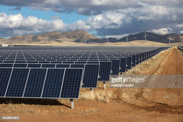 Solar panels wind farm turbines Wilcox Arizona Sonoran Desert Mountains