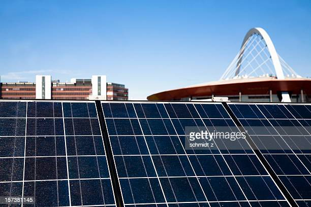 solar panels with sky and cologne landmarks - solar energy dish stock pictures, royalty-free photos & images