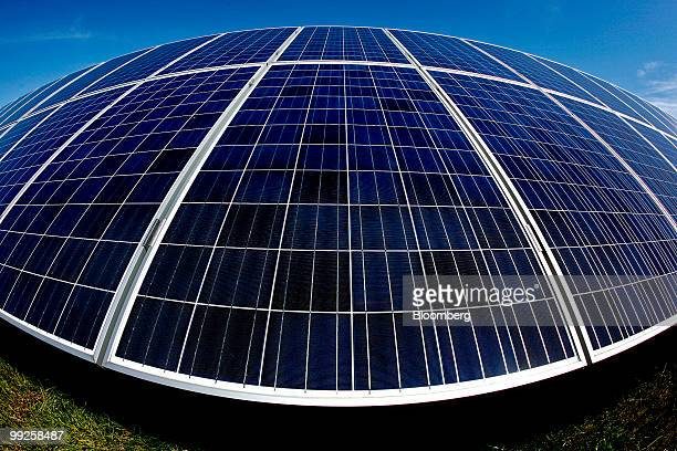 Solar photovoltaic modules made by Solon SE harness power from the sun at the Pacific Gas & Electric Vaca-Dixon Solar Station in Vacaville,...
