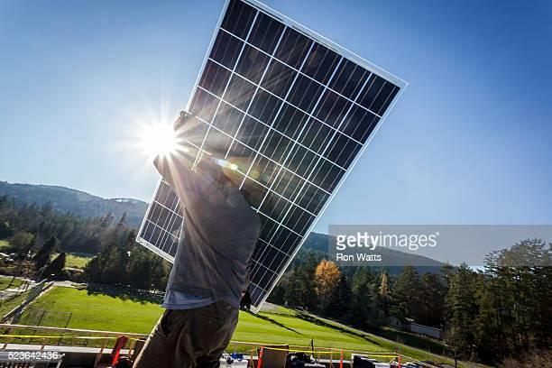 solar photovoltaic panels - panel solar fotografías e imágenes de stock
