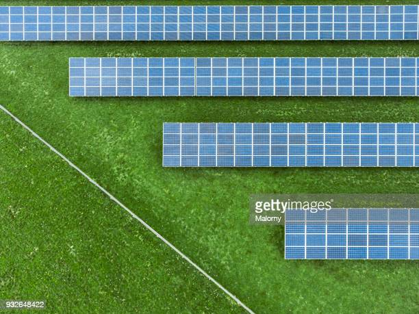 solar plant. solar panels from above. aerial view, drone view. - sustainable energy stock pictures, royalty-free photos & images