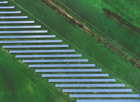 Solar plant. Solar panels from above. Aerial view, drone view. - gettyimageskorea