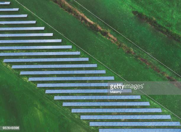 solar plant. solar panels from above. aerial view, drone view. - sustainability stock photos and pictures