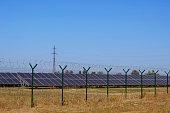 solar power plant fenced with high
