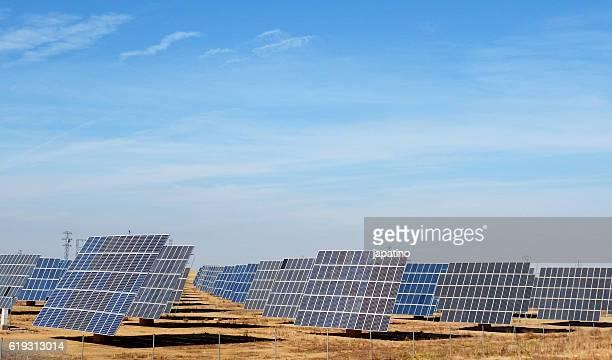 Solar power plant using solar panels in the fields of Castile. Spain