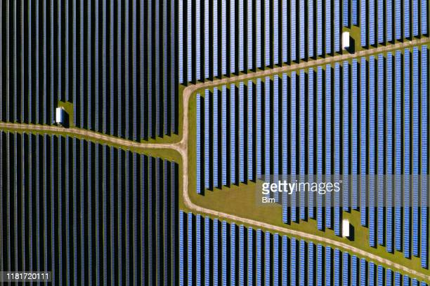 solar power station, aerial view - business finance and industry stock pictures, royalty-free photos & images