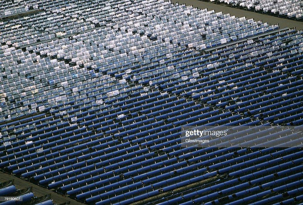 Solar power via parabolic trough mirrors, Daggett, California : Stock Photo