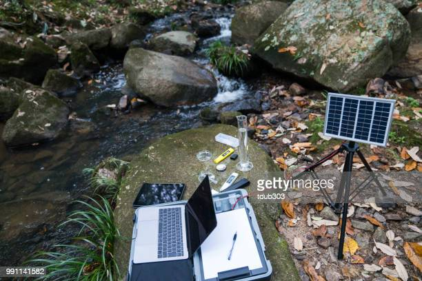a solar powered field laboratory for monitoring water quality - sustainable development goals stock pictures, royalty-free photos & images
