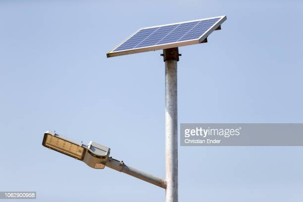 Kutupalong Ukhiya near Cox´s Bazar Bangladesh October 15 2018 Solar powered lighting was installed by aid organizations to increase safety in the...