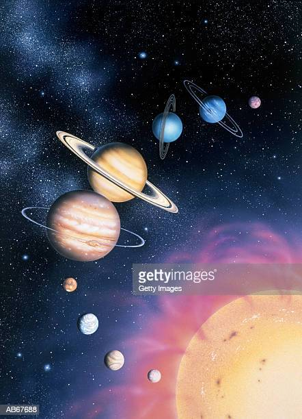 solar system, illustration - mercury planet stock photos and pictures