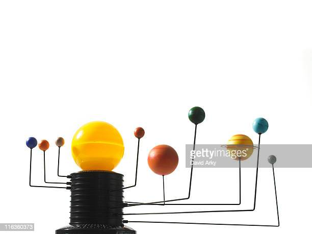 solar system model on white background - mercury planet stock photos and pictures