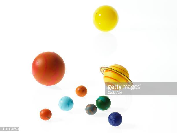 solar system planets on white background - mercury planet stock photos and pictures
