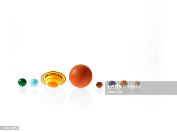 Solar system planets on white background