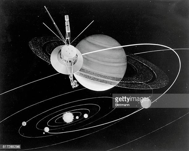 Solar system view of the flight of an unmanned Mariner spacecraft as it passes Saturn Launch is planned by NASA for late summer 1977 with a flyby of...