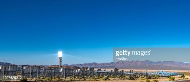 solar thermal energy power plant on desert landscape in southern california usa - solar energy dish stock pictures, royalty-free photos & images