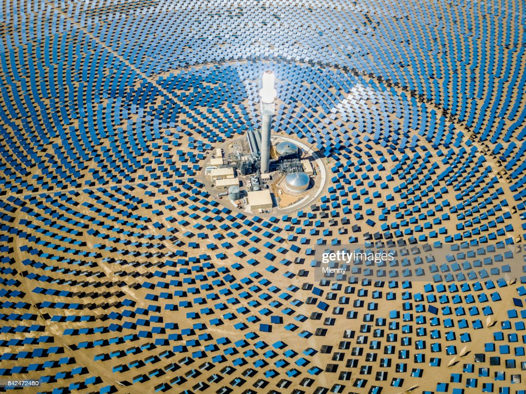 Solar Thermal Power Plant Station Aerial View : Stock Photo