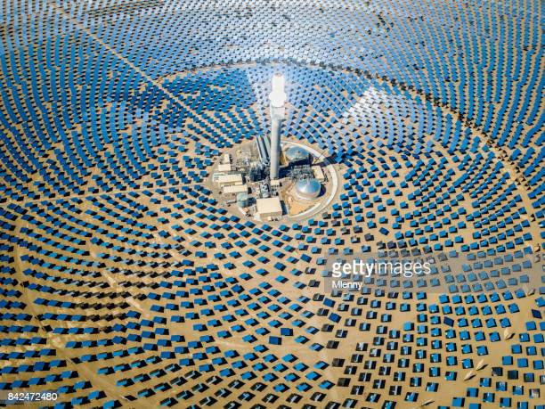 solar thermal power plant station aerial view - sustainability stock photos and pictures