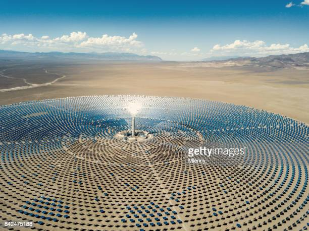 solar thermal power station aerial view - nevada stock pictures, royalty-free photos & images