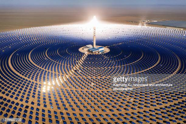solar thermal power station, dunhuang,  gansu province, china - sustainable resources stock pictures, royalty-free photos & images
