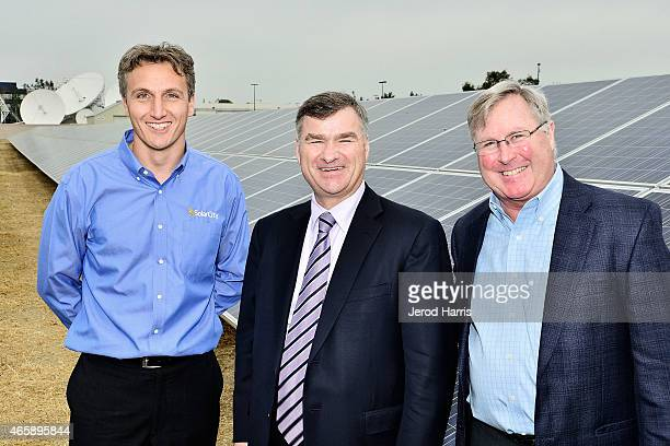 SolarCity CEO Lyndon Rive DIRECTV CEO Mike White and Executive VP of Services and Operations at DIRECTV Mike Palkovic attend the DIRECTV CBC Solar...