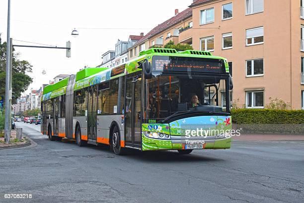 Solaris hybrid bus in motion