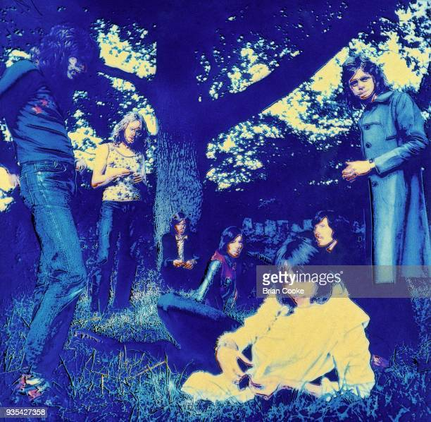 Solarised photograph of LR Robert Palmer John Anthony Helliwell Vic Sweeney Jeff Banister Tony Catchpole Stan Haldane and Alan Bown of the Alan Bown...