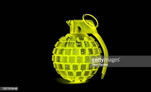 Solarized yellow grenade made from computer keyboard