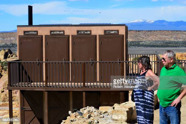 Solarpowered community outhouses are a recent modernization at Sky City one of three Native American villages which make up Acoma Pueblo west of...