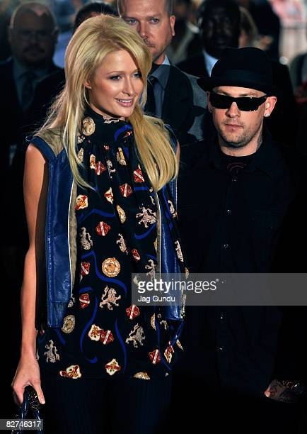 Solcialite Paris Hilton and musician Benji Madden arrives at the Paris Not France premiere during the 2008 Toronto International Film Festival held...