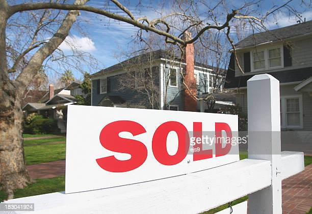 Sold California real estate sign and house home