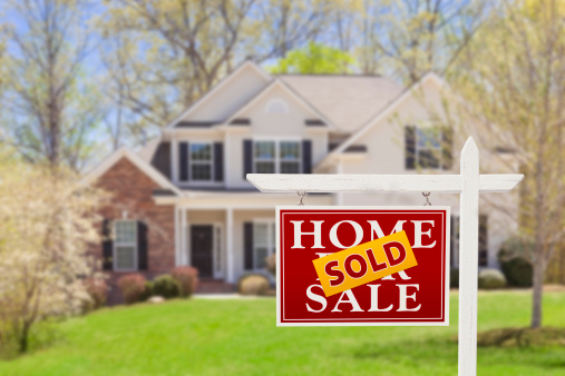 Sold Home For Sale Real Estate Sign and House 177709534