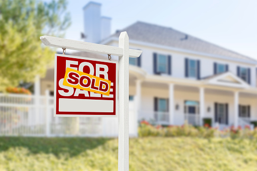 Sold Home For Sale Sign in Front of New House 522508239