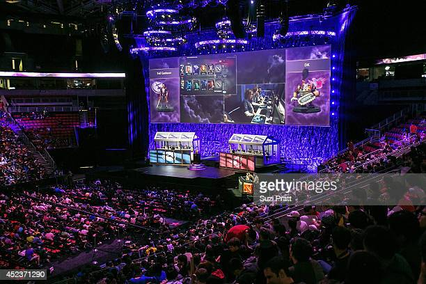 A sold out audience fill the seats of Key Arena for The International DOTA 2 Championships on July 18 2014 in Seattle Washington