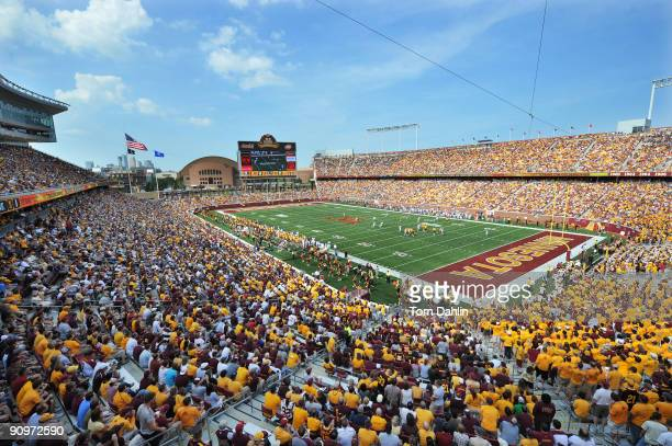 Sold out crowd fills TCF Bank Stadium as the Minnesota Golden Gophers play an NCAA football game against the California Golden Bears on September 19,...