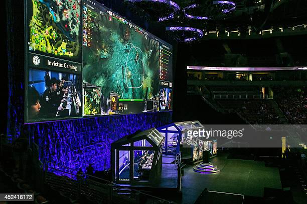 A sold out crowd fills the seats at The International DOTA 2 Champsionships at Key Arena on July 19 2014 in Seattle Washington